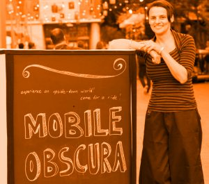 Anita at Parramatta Lanes with her Mobile Obscura