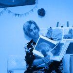 Jen giving artist talk about her books